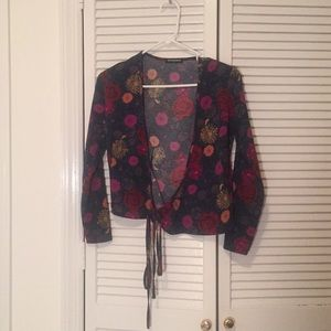 Patterned Wrap Long Sleeve Top